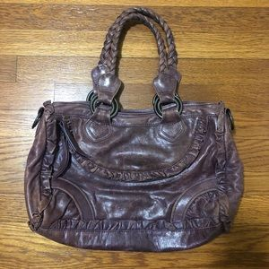 treesje Magnolia Distressed Purple Brown Handbag